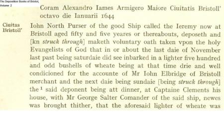 Capt Clements Bristol 1644